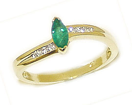 Marquise Emerald and Diamond Slender Wave Ring