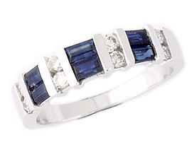 Buy Diamond and Sapphire Baguette Channel Ring in 14K White Gold