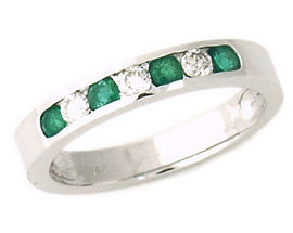 Buy Emerald and Diamond Stackable Channel Ring – 14K White Gold