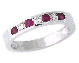 Ruby and Diamond Stackable Channel Ring - 14K White Gold
