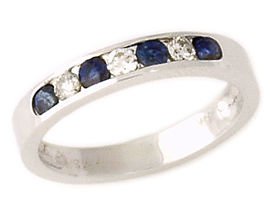 Sapphire and Diamond Stackable Channel Ring (Apples of Gold)
