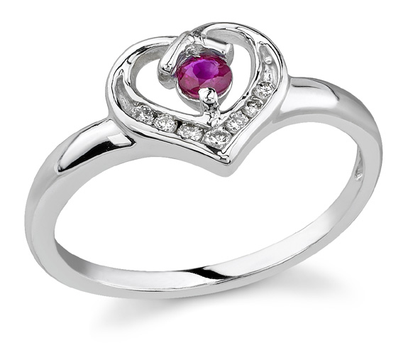 14K White Gold Garnet and Diamond White Gold Heart Ring