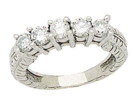 Buy 14K White Gold 1 Carat Antique Five Diamonds Ring