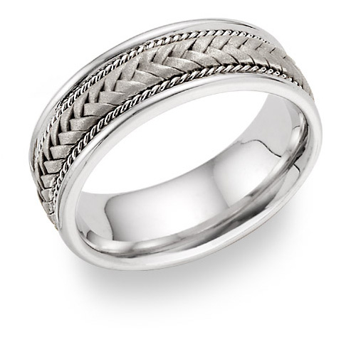 14K White Gold 7.6mm Braided Wedding Band Ring