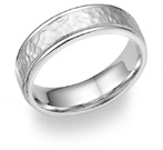 18K White Gold Hammered Wedding Band