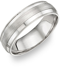14K White Gold Brushed Center Design Wedding Band Ring