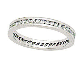 14K Solid White Gold 3/4 Carat Eternity Channel Diamond Band Ring (Rings, Apples of Gold)