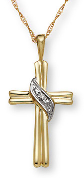 10K Gold Banner on Cross Diamond Pendant