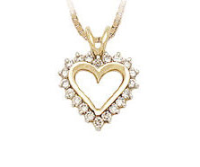 10K Gold 1/4 Carat Diamond Heart Pendant (Pendants, Apples of Gold)