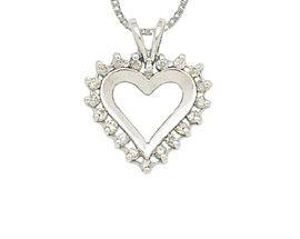 10K White Gold Classic 1/4 Carat Diamond Heart Pendant (Pendants, Apples of Gold)