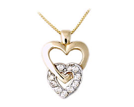 10K Two-Tone  Gold Diamond Heart Link Pendant