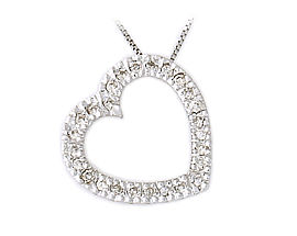 14K White Gold 1/4 Carat Diamond Slide Heart Pendant (Pendants, Apples of Gold)