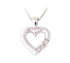Buy 14K White Gold Three Stone Diamond Heart Pendant