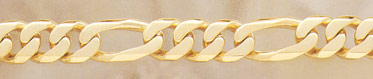 14K Gold Hand-Made 15mm Figaro Link Bracelet (Bracelets, Apples of Gold)