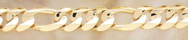 14K Gold Hand-Made 16mm Figaro Link Bracelet