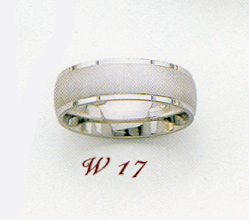 14K White Gold 6.5mm Satin Finished Wedding Band Ring