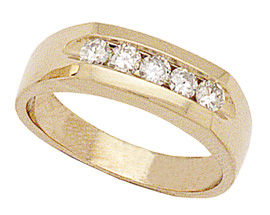 14K Gold Men's 1/2 Carat Five Diamond Channel Ring (Apples of Gold)
