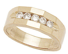 14K Gold 1/2 Carat Five Diamonds Angles Men's Ring