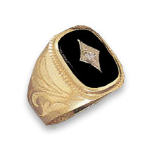 14K Solid Gold Onyx & Diamond Ring