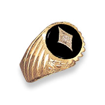 14K Gold Onyx & Diamond Swirl Design Ring