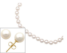 Buy White Pearl Earring and Necklace Set in 14 Karat Yellow Gold