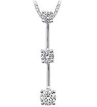 14K White Gold 3 Stone Diamond Pendant (Pendants, Apples of Gold)