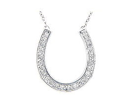 Buy 14K White Gold 1/4 Carat HorseShoe Diamond Pendant