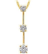 14K Gold 3 Stone Diamond Pendant (Pendants, Apples of Gold)