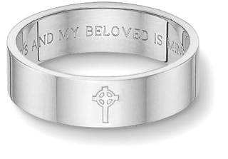 Celtic Cross Bible Verse Wedding Band, 14K White Gold