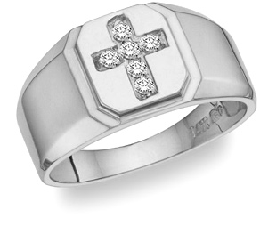 Diamond Cross Ring - 14K White Gold