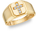 Diamond Cross Ring - 14K Gold