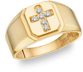 Men's Diamond Cross Ring in 14K Gold