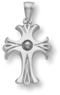 14K White Gold Rustic Cross Pendant