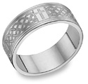 Engraved Celtic Cross Wedding Band in Sterling Silver