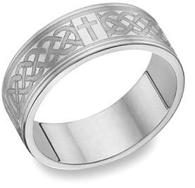 14K White Gold Engraved Celtic Cross Wedding Band