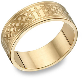 14K Gold Engraved Celtic Cross Wedding Band