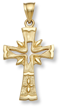 14K Gold Holy Spirit Dove Cross Pendant