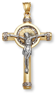14k two tone gold large crucifix pendant with czs aloadofball Gallery