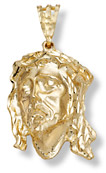 14K Gold Large Jesus Head Pendant