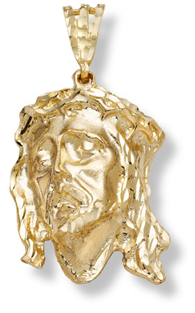 14k gold large jesus head pendant aloadofball Choice Image