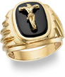 14K Gold Onyx Crucifix Ring