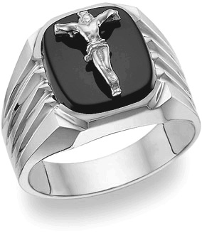 14K White Gold Onyx Crucifix Ring