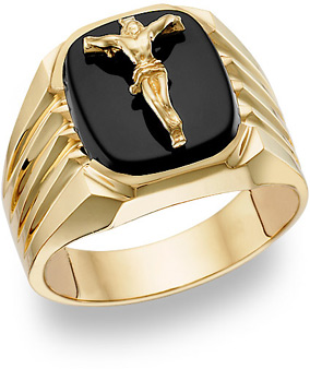 Onyx Crucifix Ring - 14K Gold