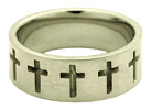 14K White Gold Cross Band Ring