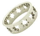 Star of David Wedding Band Ring, 14K White Gold