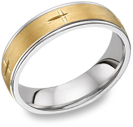 Christian Cross Wedding Band Ring, 14K Two-Tone Gold