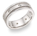 14K White Gold 1/4 Carat Diamond Wedding Band Ring