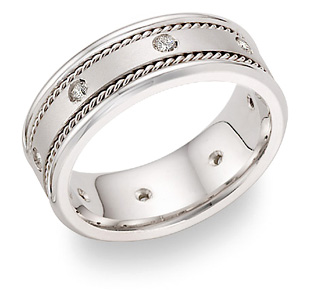 0.25 Carat Diamond Wedding Band in 18K White Gold