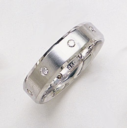 14K White Gold Brushed Diamond Wedding Band Ring