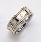 1/4 Carat Diamond Wedding Band Ring - 14K Two-Tone Gold